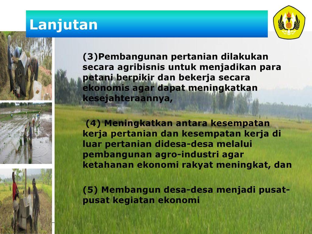 Kebijakan Pembangunan Pertanian Ppt Download