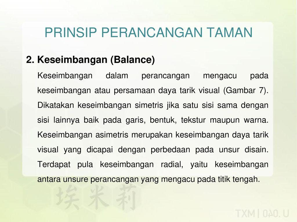 UNSUR DAN PRINSIP PERANCANGAN TAMAN - Ppt Download