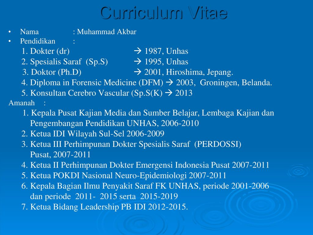 Curriculum Vitae 1 Dokter Dr 1987 Unhas Ppt Download