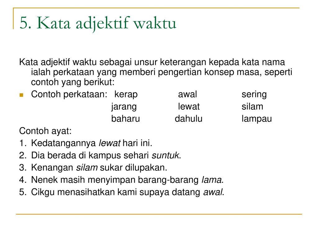 Contoh Ayat Kata Adjektif Bentuk Materi Pelajaran 1
