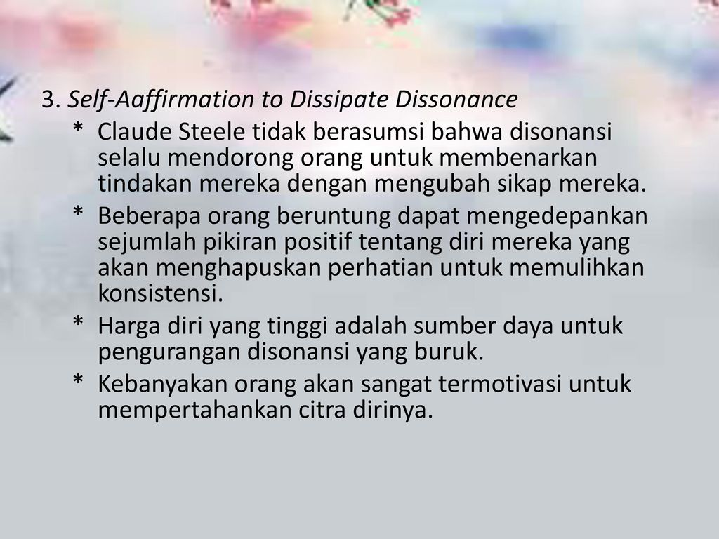 3. Self-Aaffirmation to Dissipate Dissonance