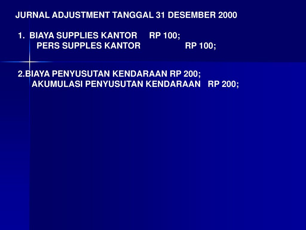 JURNAL ADJUSTMENT TANGGAL 31 DESEMBER 2000