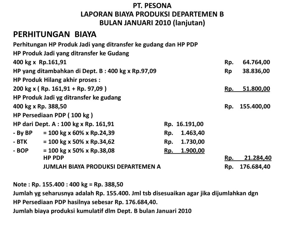 Process Cost Method 2 Pengaruh Produk Hilang Ppt Download