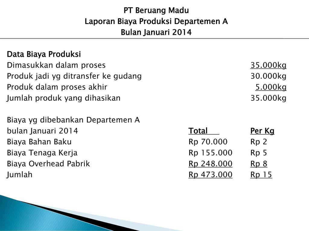 Contoh Soal Laporan Harga Pokok Produksi 2 Departemen Kumpulan Soal Pelajaran 6