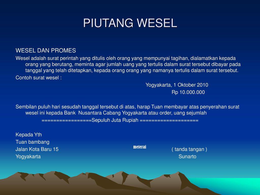 Contoh Surat Wesel Dan Promes