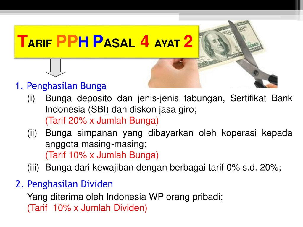 TARIF+PPH+PASAL+4+AYAT+2+1.+Penghasilan+Bunga+2.+Penghasilan+Dividen - Jenis Pph Pasal 4 Ayat 2