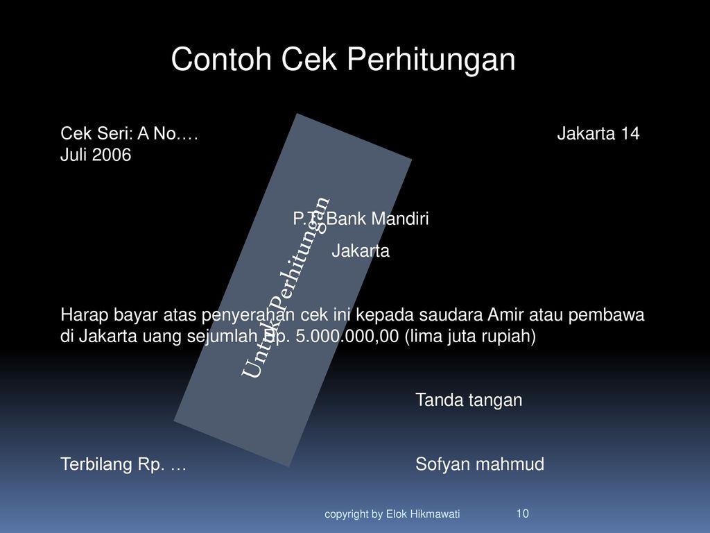 Cek Cheque Pertemuan 6 Copyright By Elok Hikmawati Ppt Download
