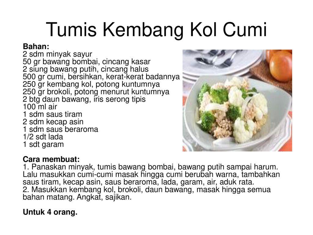 Resep Masakan Koleksi Chef Shanti Ppt Download Suji Kembang Kol Tumis Cumi