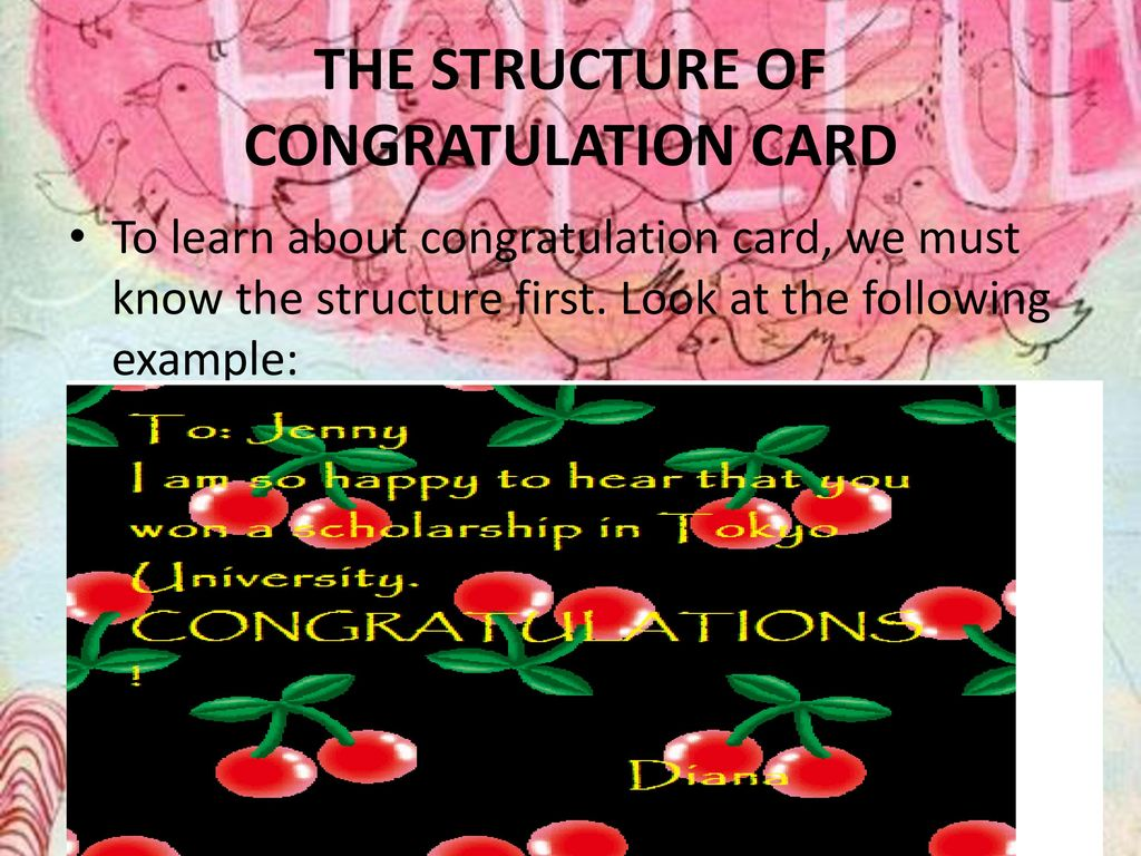 THE STRUCTURE OF CONGRATULATION CARD