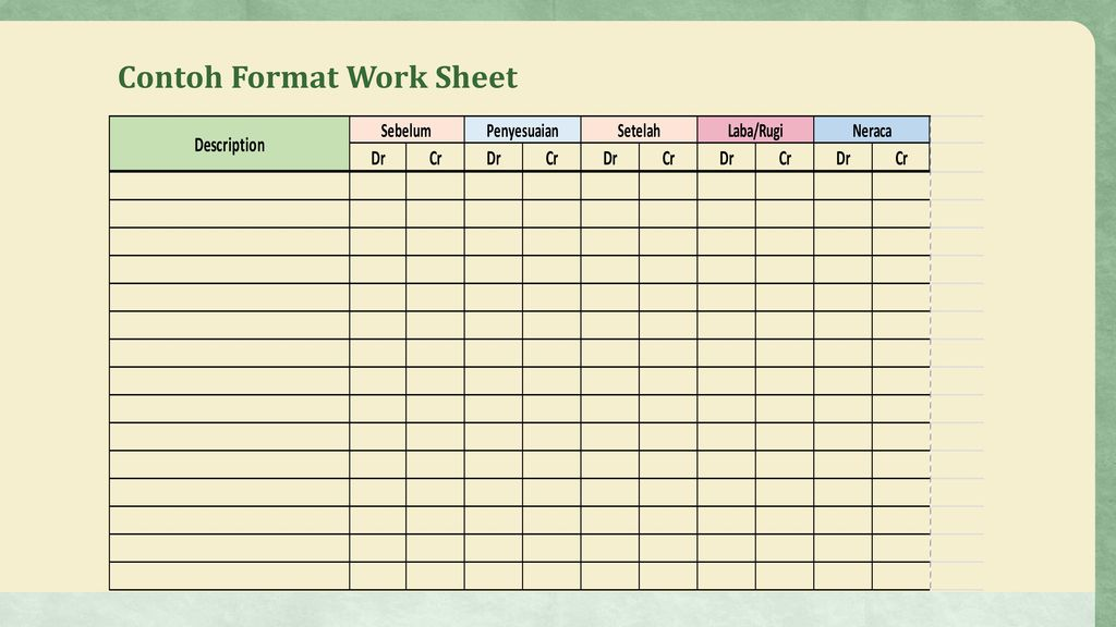 Contoh Format Work Sheet