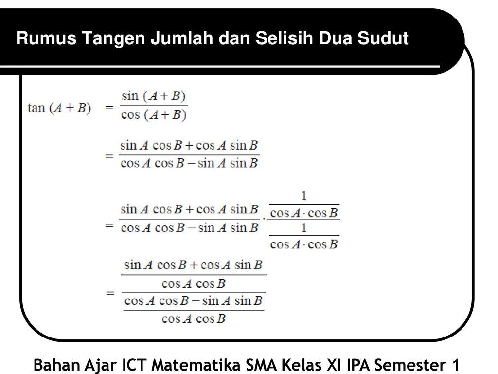 Sma Negeri 15 Tangerang Trigonometri Matematika Sma Ppt Download