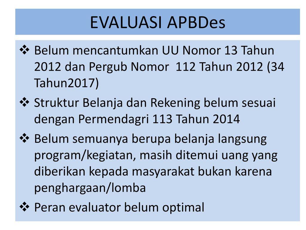 Peranan Camat Sebagai Evaluator Apbdesa Ppt Download