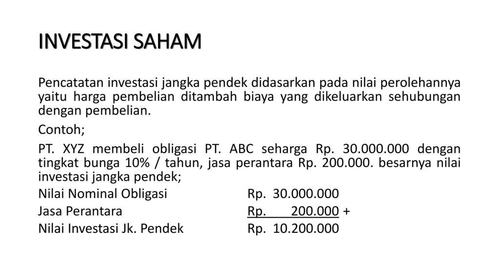 Akuntansi Investasi Jangka Pendek Jangka Panjang Dan Ekuitas Ppt Download