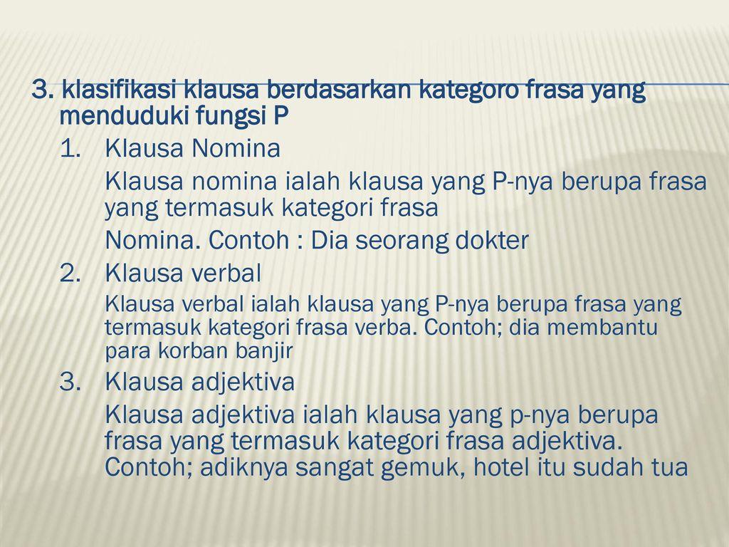 Materi Perkuliahan Klausa Oleh Latifah S Pd M Pd Ppt Download
