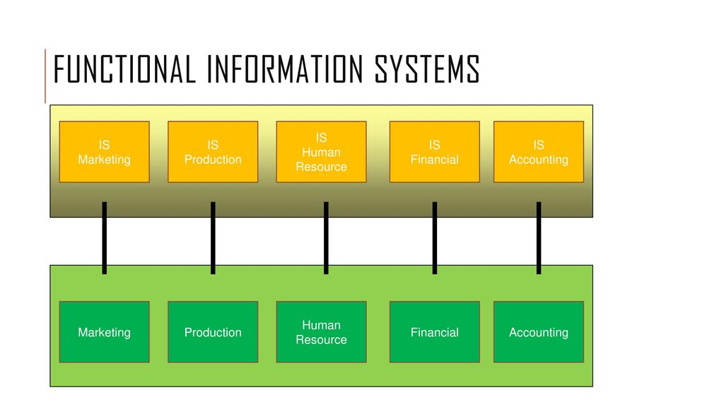 functional area information systems Functional area information systems (faiss) provide information mainly to lower-and middle-level managers in functional areas the information is provided in a variety of reports faiss access data from corporate databases and also create management reports by accessing external databases.