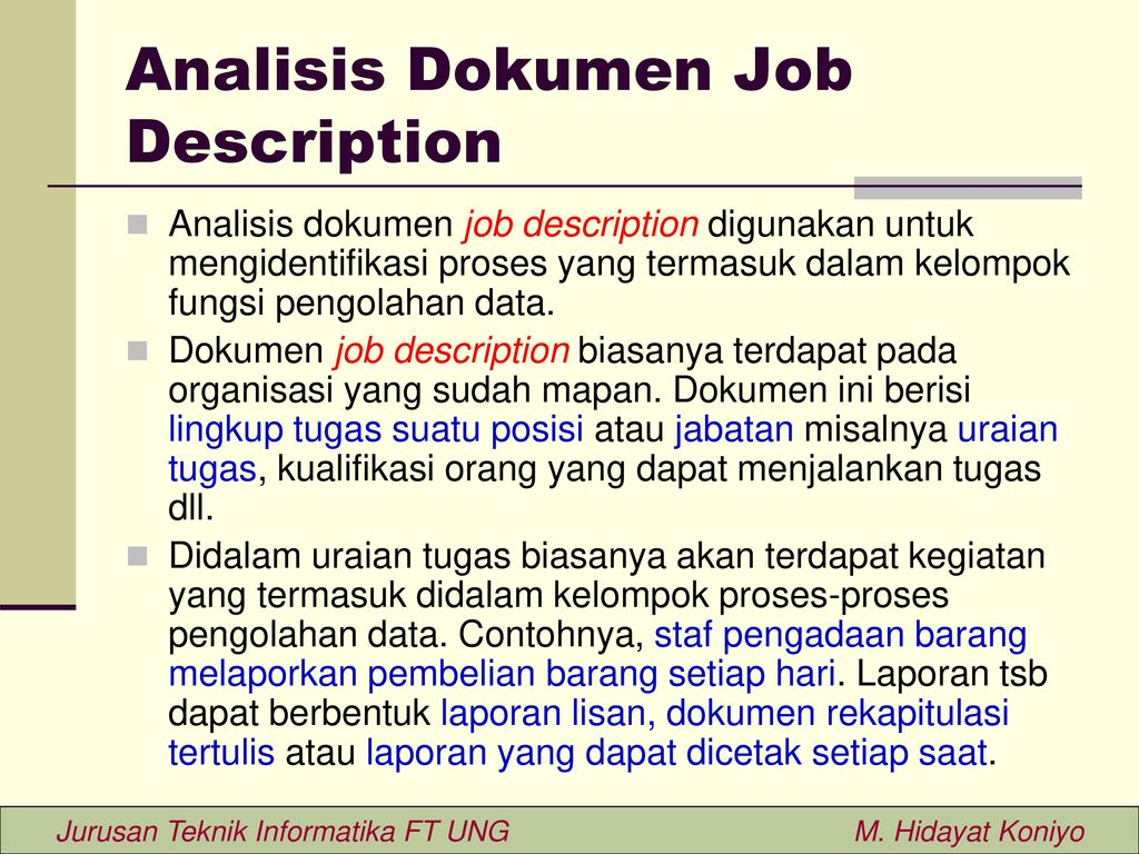 Analisis Dokumen Job Description