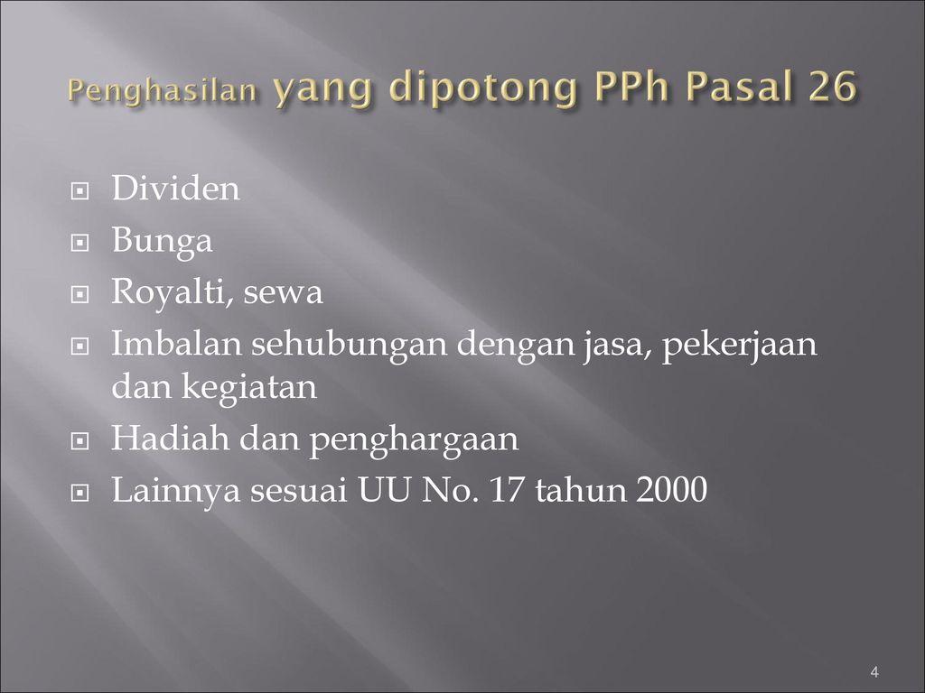 Perpajakan Pph Pasal 26 Pertemuan Ke Ppt Download