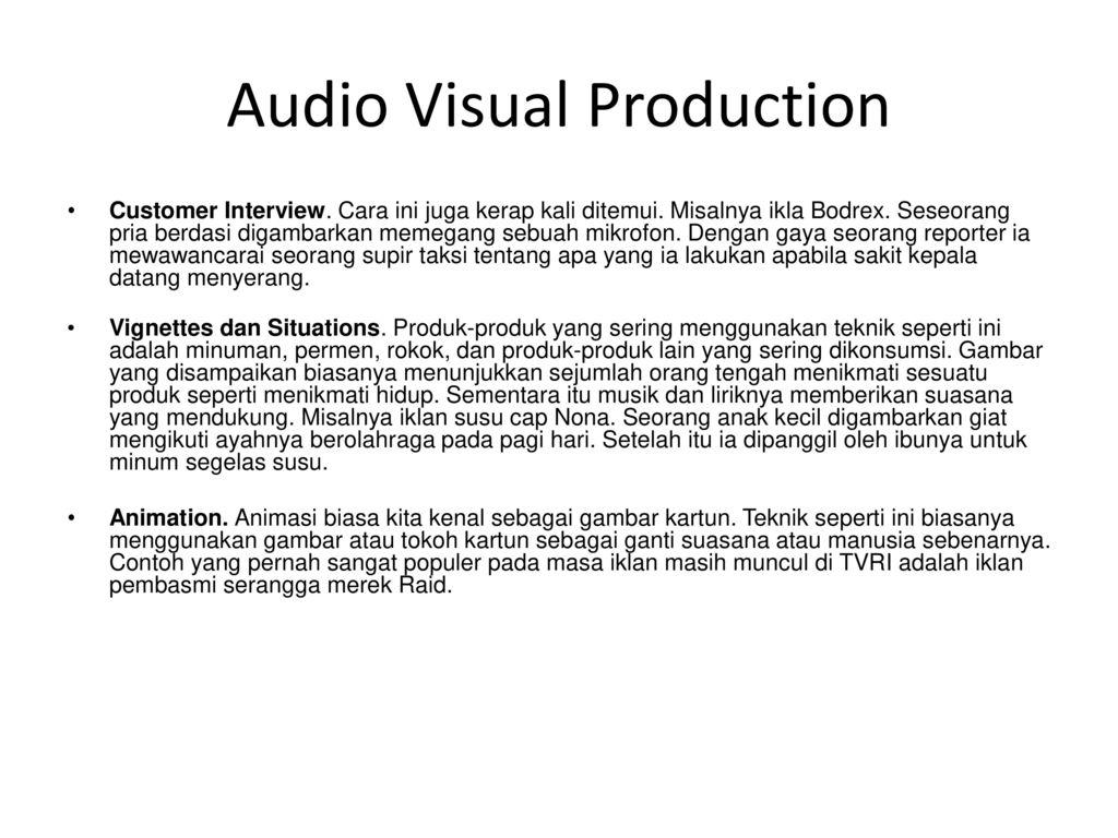 Topik V Komunikasi Visual Iklan Tv Audio Visual Production Ppt