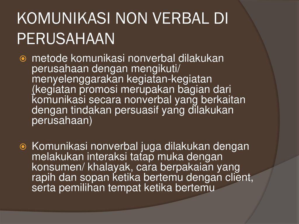Komunikasi Verbal Non Verbal Ppt Download