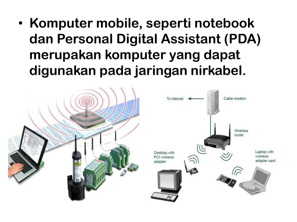 Jaringan komunikasi data ppt download 8 komputer mobile seperti notebook dan personal digital assistant pda merupakan komputer yang dapat digunakan pada jaringan nirkabel ccuart Images