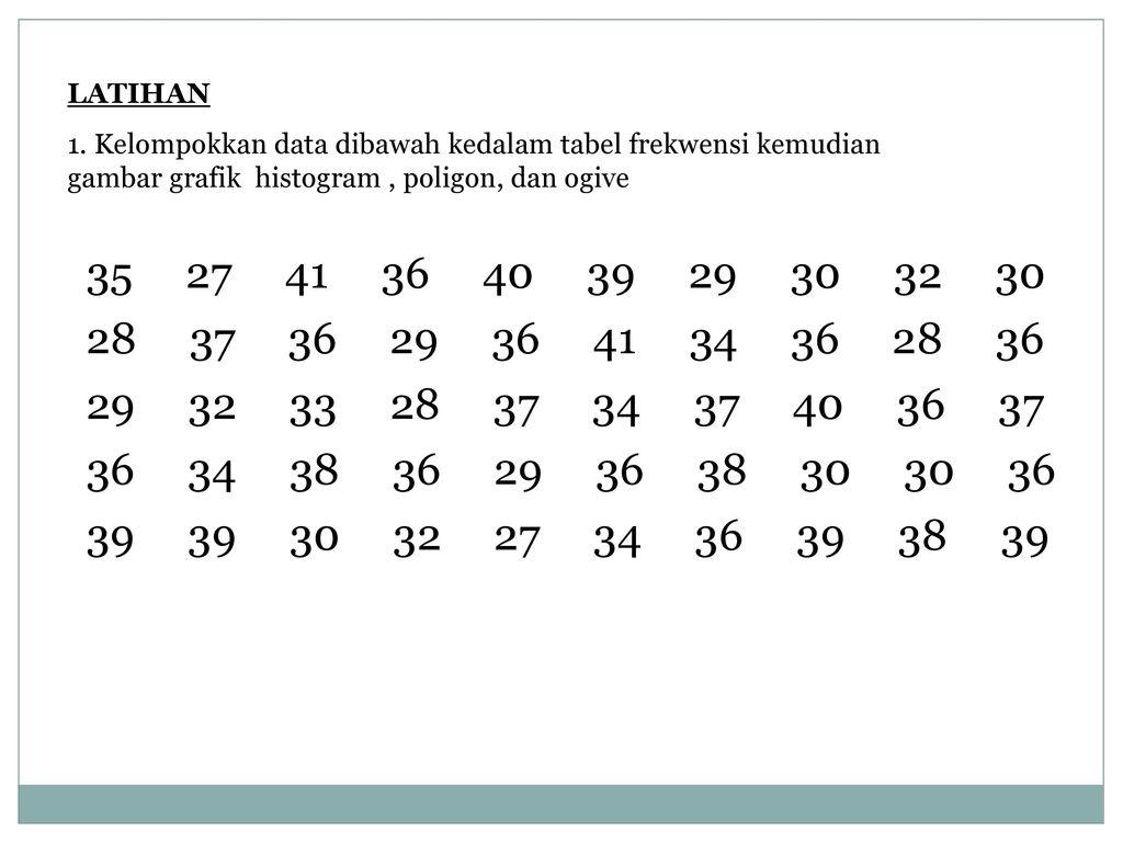 Bab 2 penyajian data ppt download 29 latihan 1 kelompokkan data dibawah kedalam tabel frekwensi kemudian gambar grafik histogram poligon ccuart Images