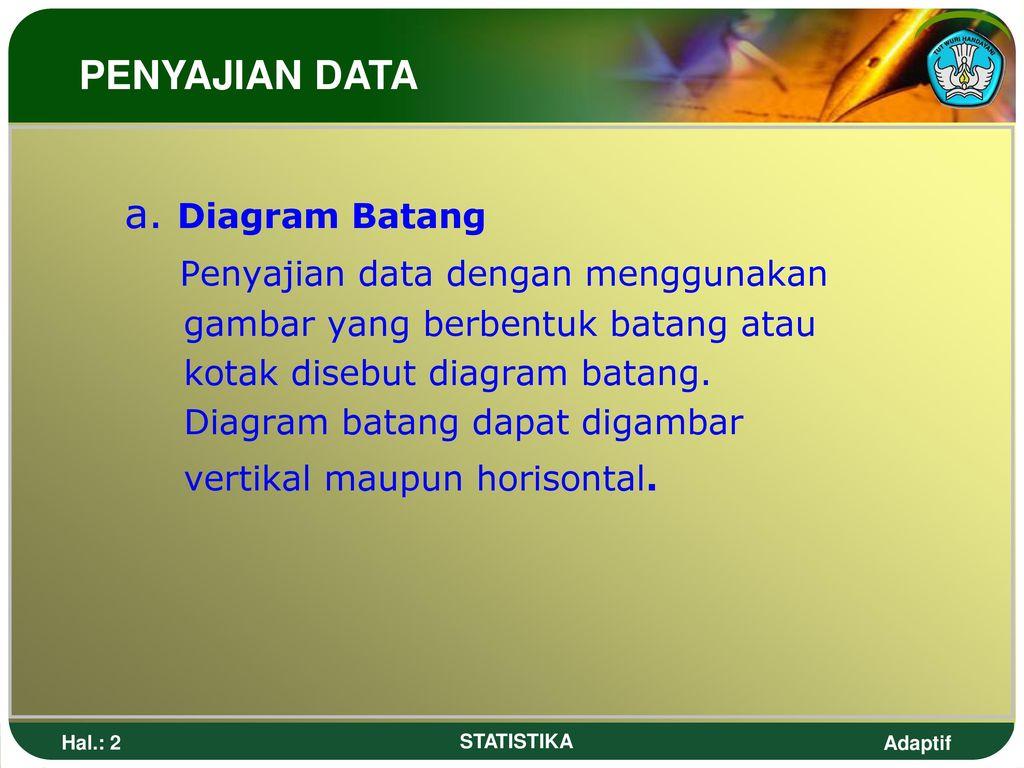 Statistik penyajian data ppt download 2 penyajian data dengan menggunakan a diagram batang ccuart Choice Image