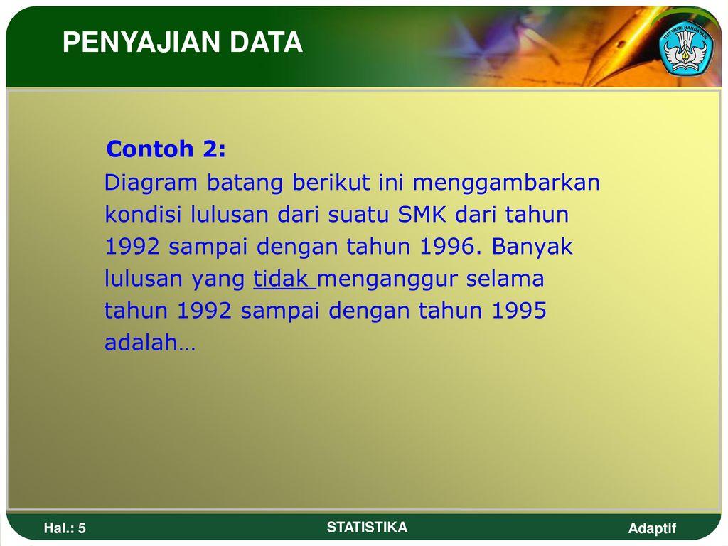 Statistik penyajian data ppt download penyajian data contoh 2 diagram batang berikut ini menggambarkan ccuart Images