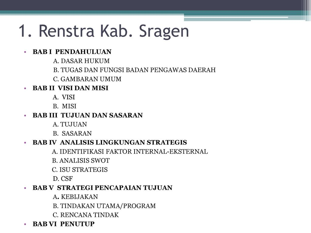 Contoh Contoh Renstra Ppt Download