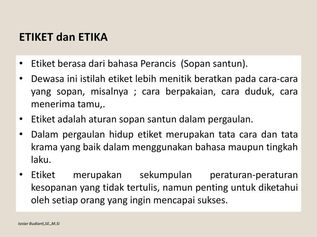 Pertemuan 1 Etika Etiket Ppt Download