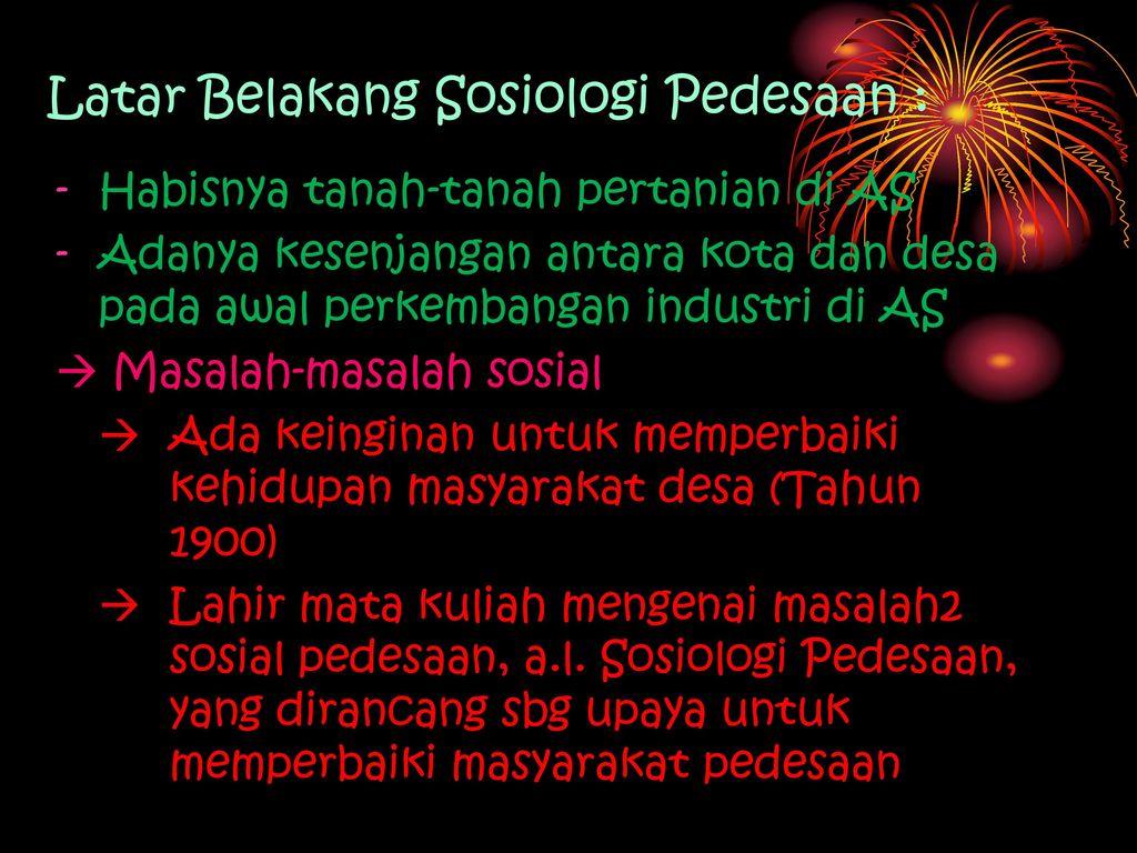 Sosiologi Pertanian Pendahuluan Ppt Download