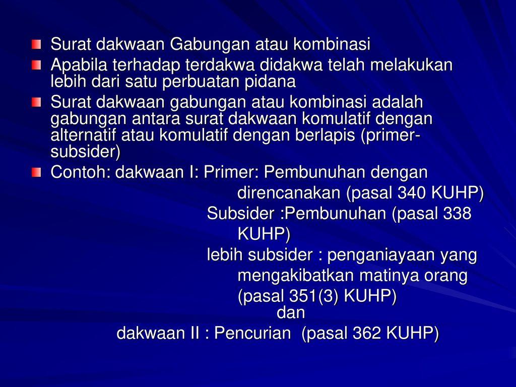 Dasar Penyusunan Surat Dakwaan Pasal 143 Ayat 2 Kuhap