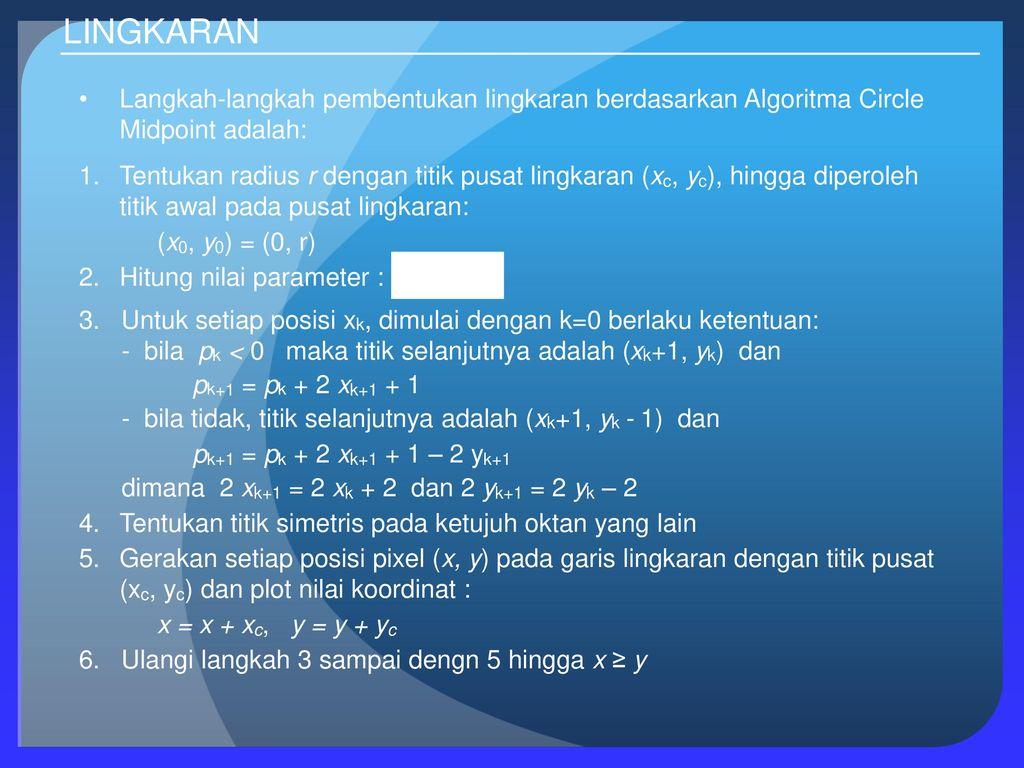 Lingkaran Algoritma Pembentukan Lingkaran Ppt Download