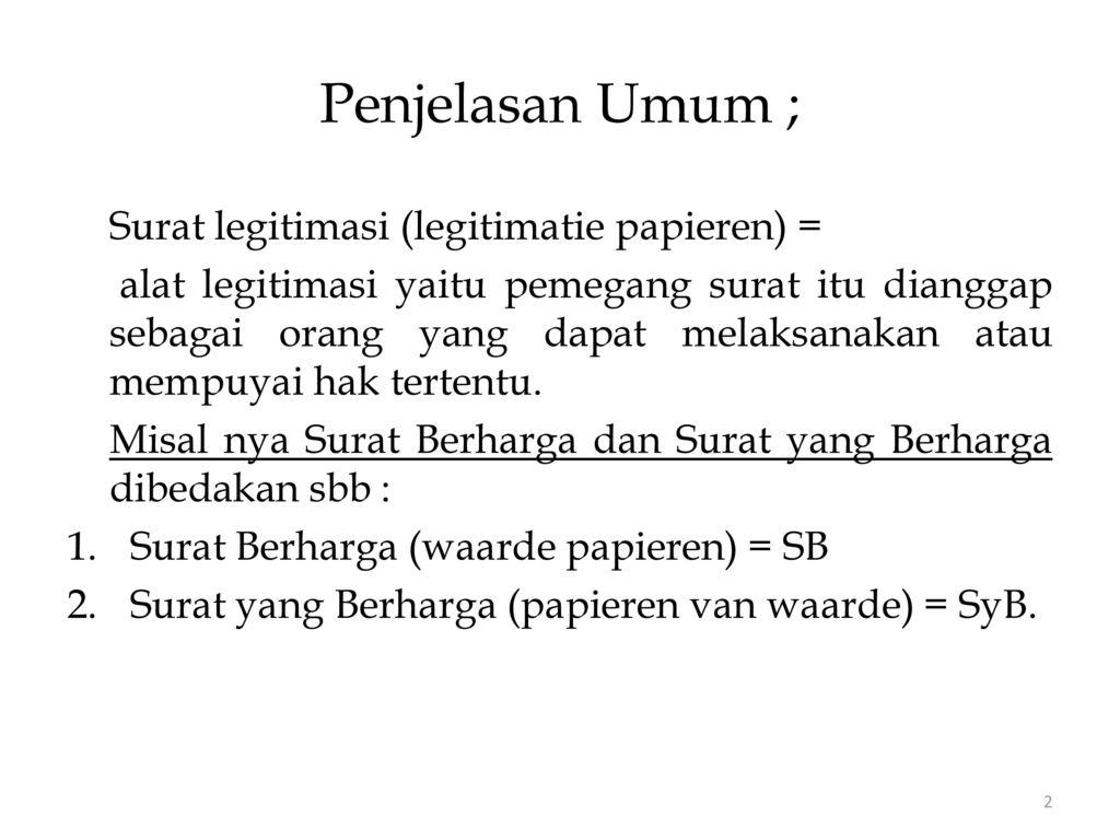 Surat Berharga Waardepapier Bld Negotiable Instrument