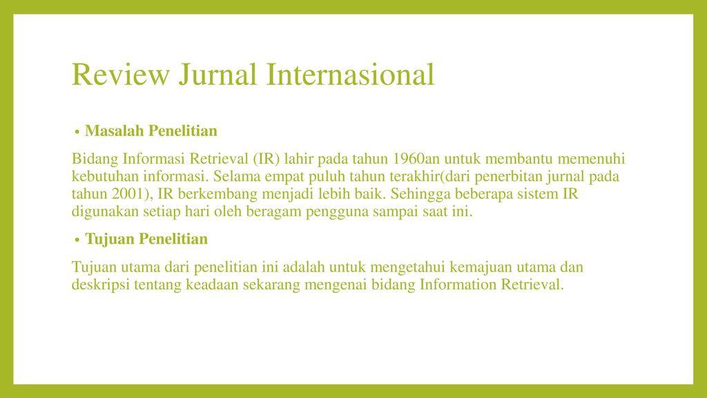 Review Jurnal Temu Balik Informasi Ppt Download