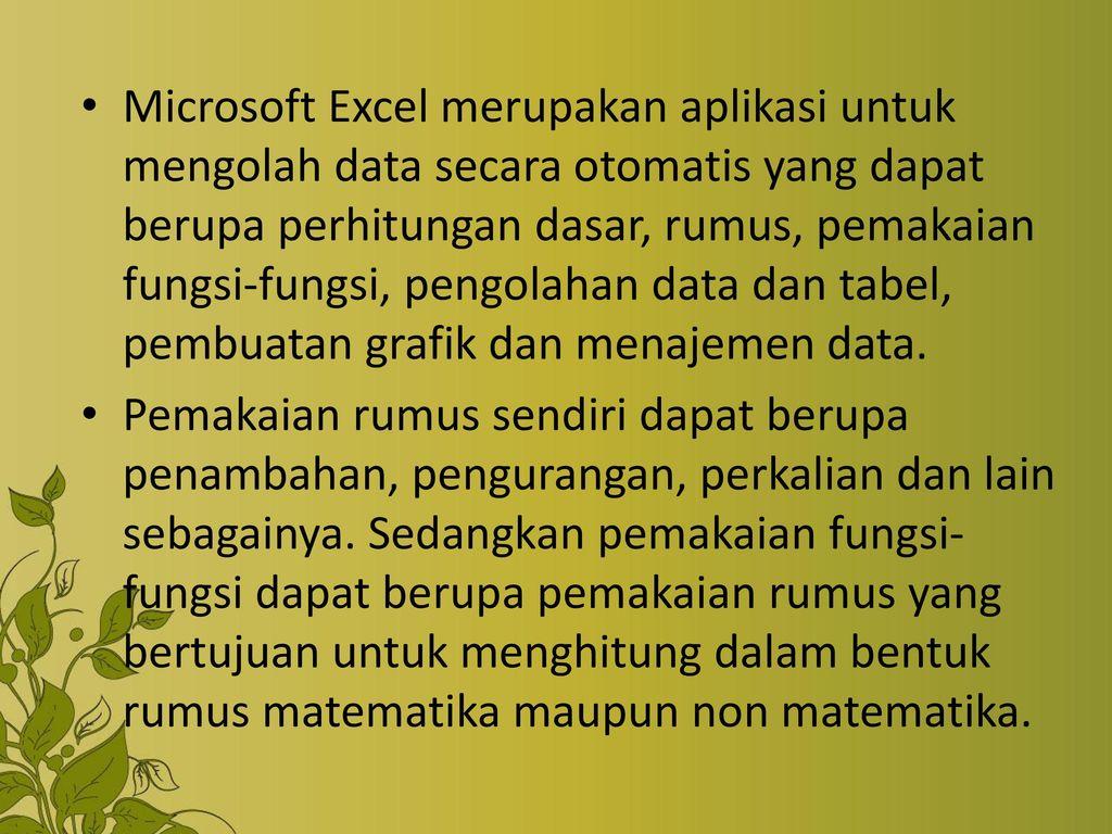 bagaimana penggolongan fungsi pada aplikasi microsoft office excel 2007
