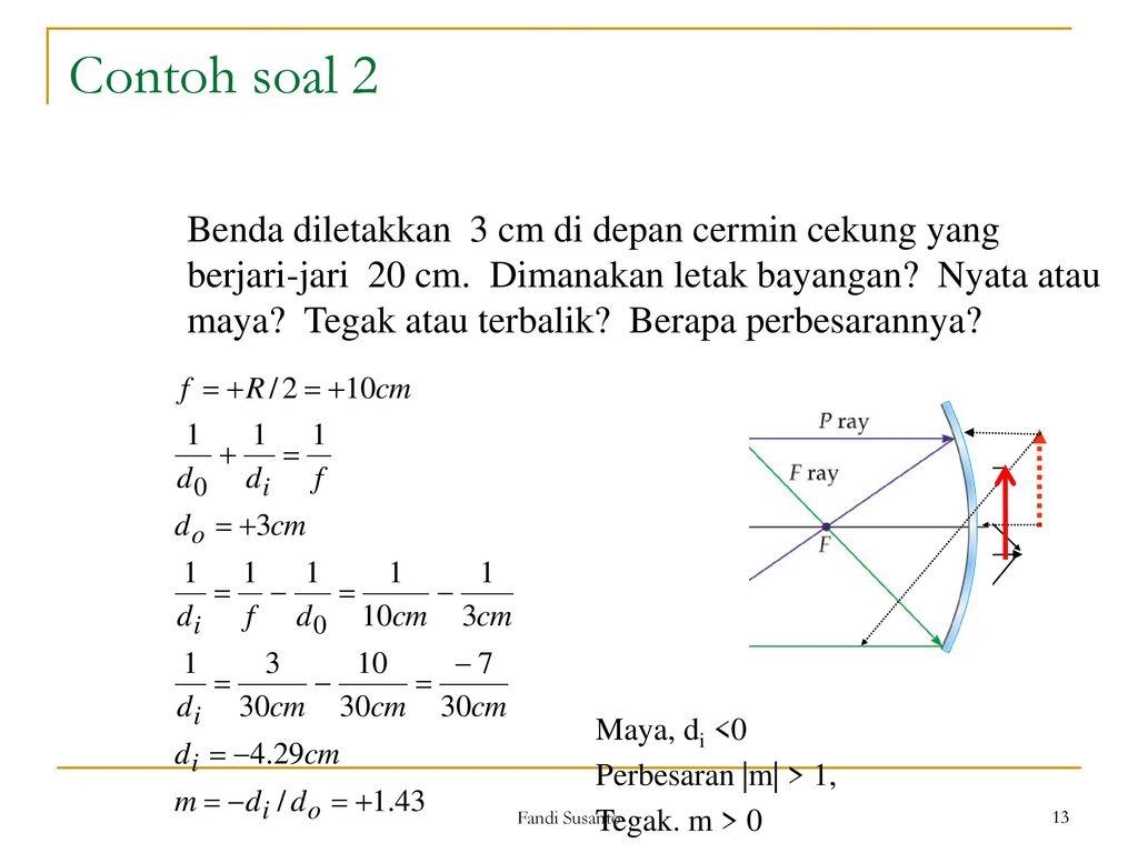 Contoh Soal Cermin Cekung Kumpulan Soal Pelajaran 4