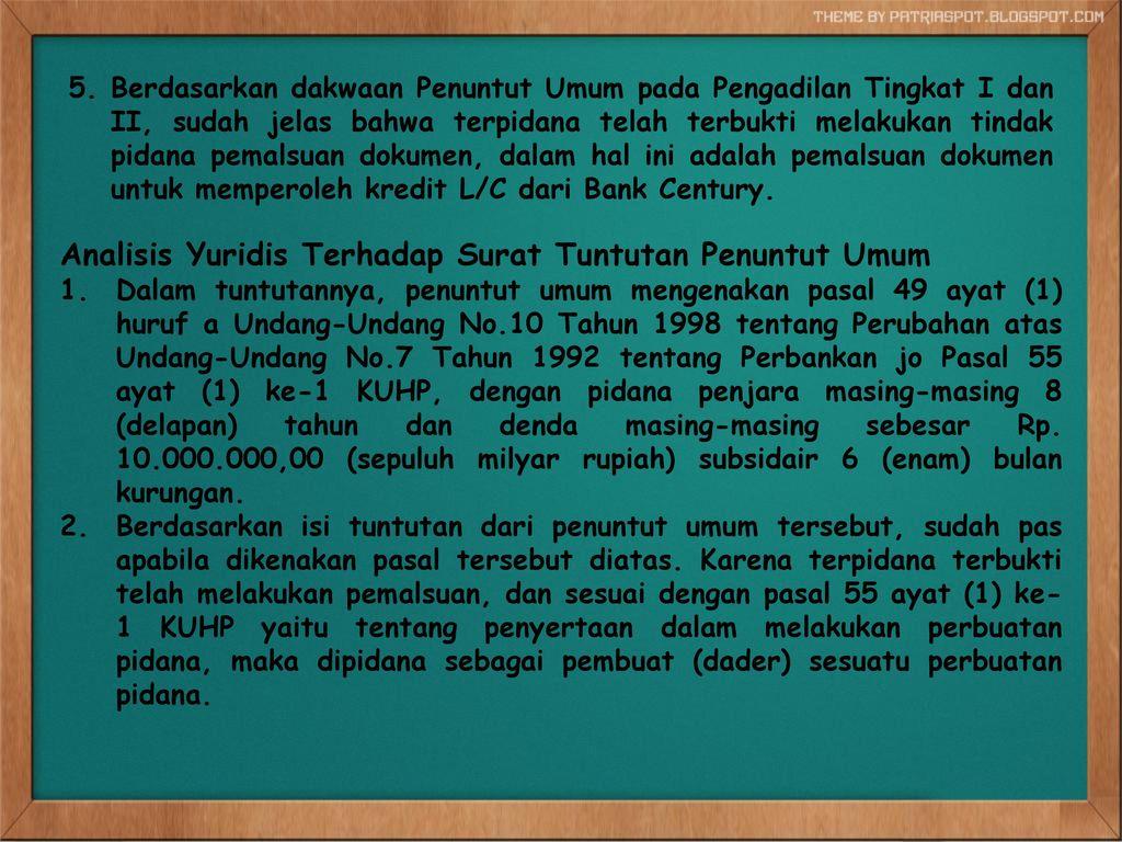 EKSAMNINASI PUTUSAN MAHKAMAH AGUNG NOMOR : 47/PK/PID - ppt