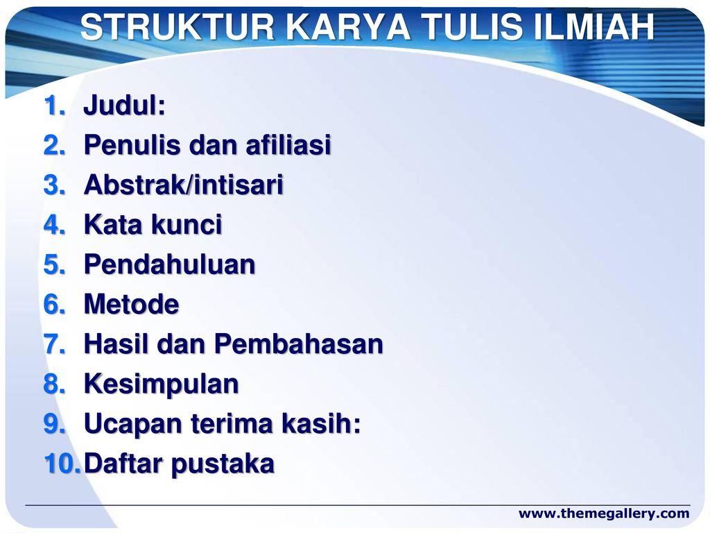 Tata Cara Penulisan Karya Tulis Ilmiah Ppt Download