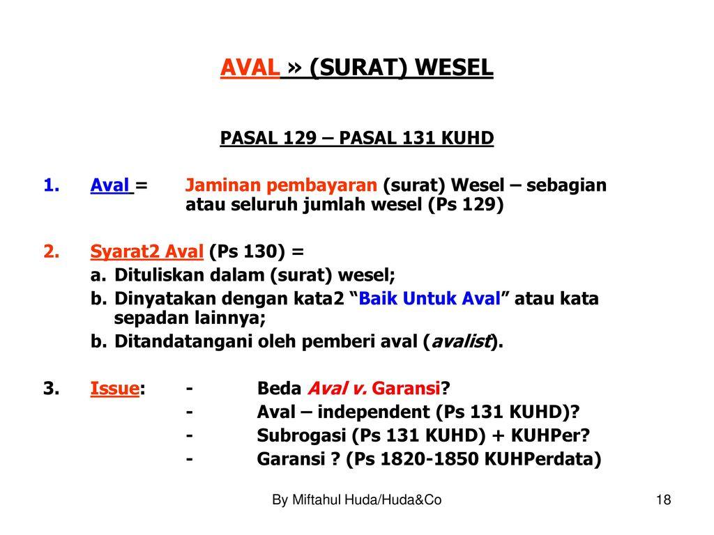 Hukum Surat Wesel Oleh Dr Miftahul Huda Sh Llm Ppt
