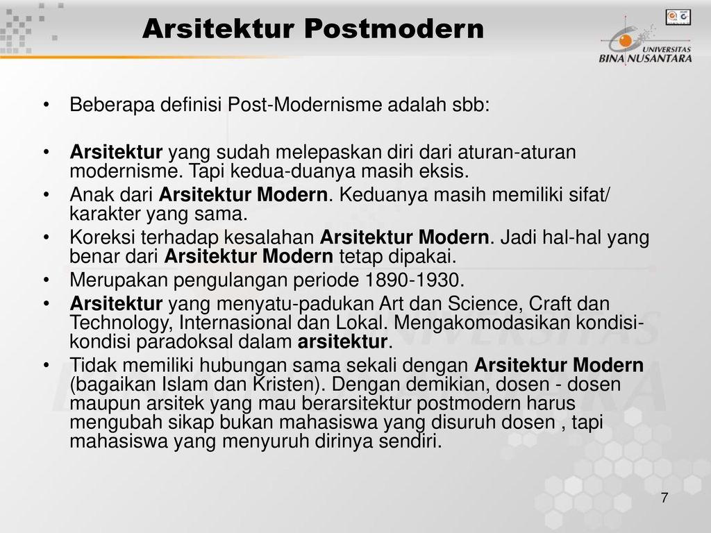 Arsitektur Post Modern Adalah