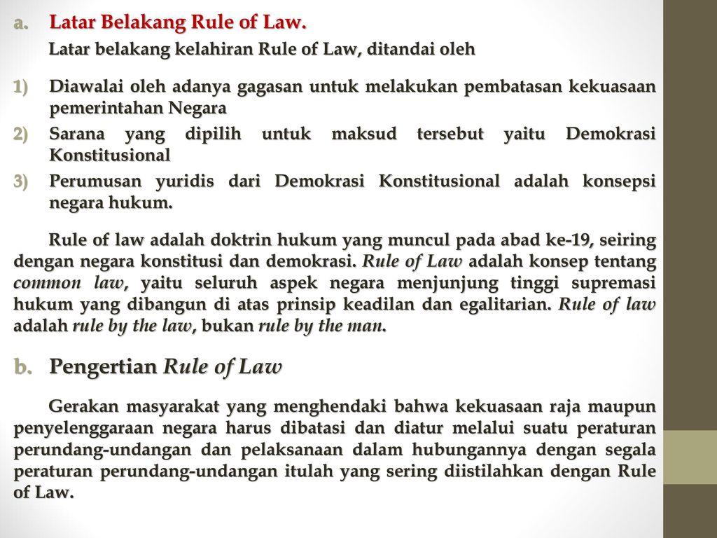 Rule Of Law Penegakan Hukum Peningkatan Dan Kesadaran Hukum Ppt Download