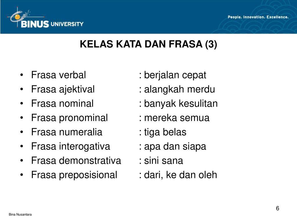 Kelas Kata Dan Frasa Pertemuan Ppt Download