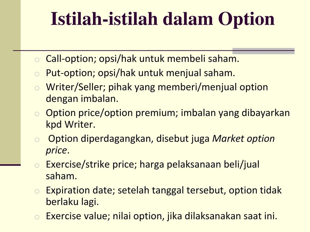 TEORI OPSI (OPTION THEORY)