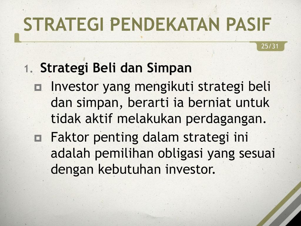 strategi perdagangan aktif dan pasif