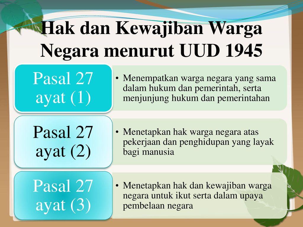 Bab Ii Hak Dan Kewajiban Warga Negara Ppt Download