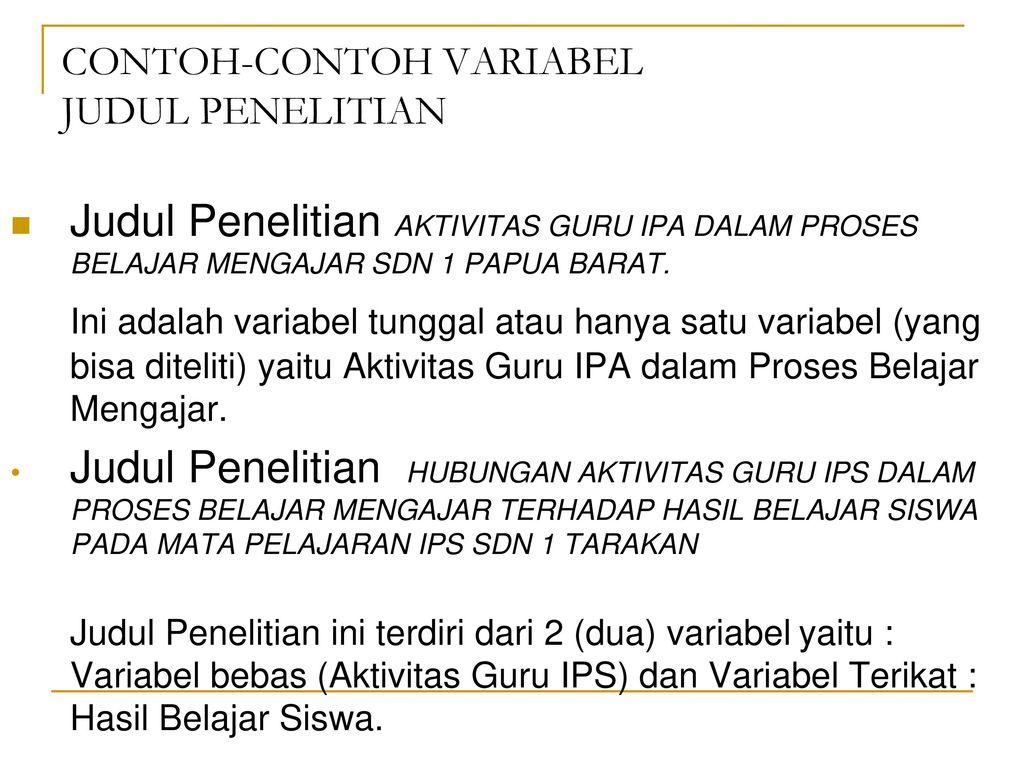 Contoh Skripsi Variabel Penelitian Contoh Soal Dan Materi Pelajaran 8