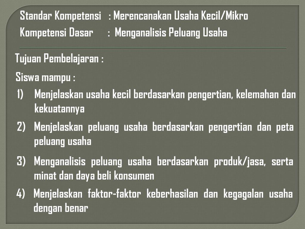 Menganalisis Peluang Usaha Ppt Download