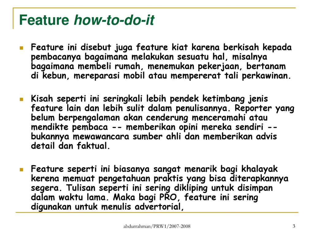 Mata Kuliah Pr Writing 1 Menulis Feature How To Do It Ppt Download