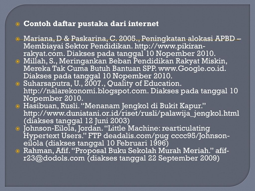 Daftar Pustaka Dari Internet Ppt Download