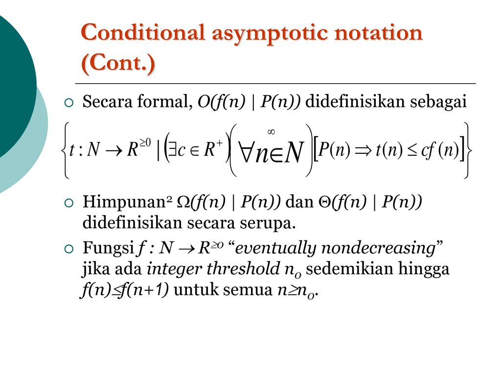 conditional asymptotic notation